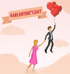 Man and woman in balloon love vector image vector image