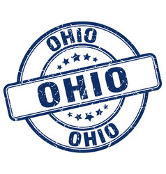 Ohio blue grunge round vintage rubber stamp vector