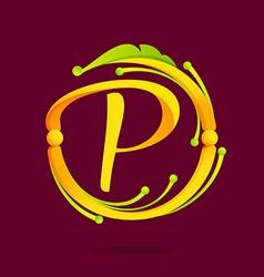 P letter monogram design elements vector