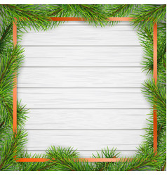 pine tree frame on white wooden background vector image vector image