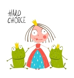 Princess Making Choice between Two Prince Frogs vector image vector image