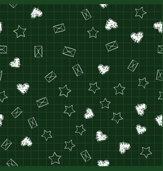 school seamless blackboard pattern with hearts vector image