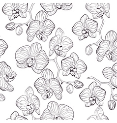 Seamless flower pattern with orchids vector image vector image