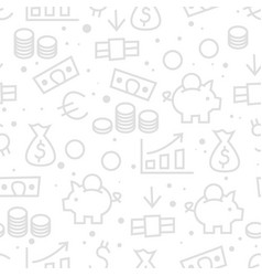 seamless money finance monochrome pattern vector image