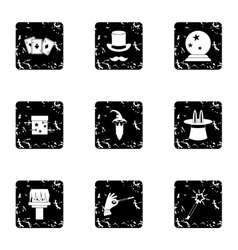 Sorcery icons set grunge style vector image