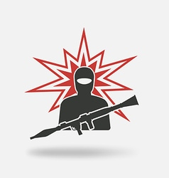 terrorist with grenade launcher vector image vector image