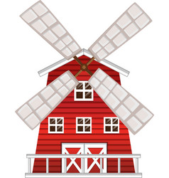windmill painted in red color vector image vector image