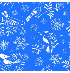 Winter seamless pattern with cute doodle birds vector