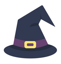 witch hat flat icon halloween and scary wizard vector image