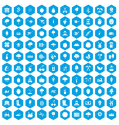 100 agriculture icons set blue vector