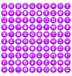 100 breakfast icons set purple vector