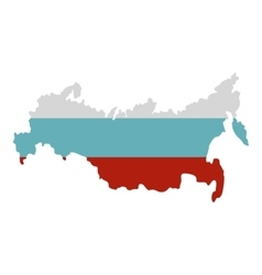 Russia map icon flat style vector