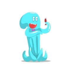 Happy blue octopus monster drinking wine partying vector