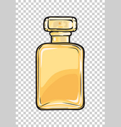 Fashionable perfume in glass yellow flask close-up vector