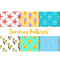 Collection of summer colorful patterns vector