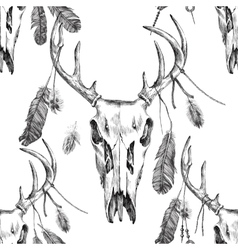 Seamless pattern with deer scull and feathers vector