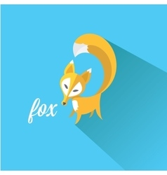 Little fox fox flat icon vector