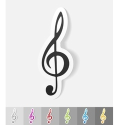 Realistic design element treble clef vector