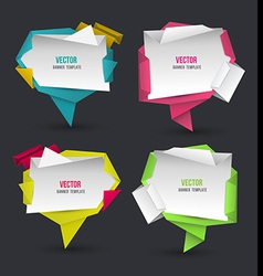 Abstract modern origami speech bubble set vector image