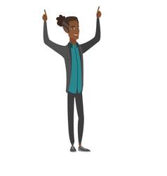 African businessman standing with raised arms up vector