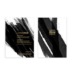 black abstract design ink paint on brochure vector image