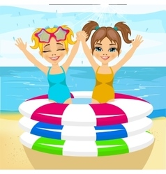 brother and sister swimming in inflatable pool vector image