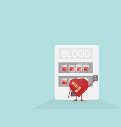cartoon heart buy blood from vending machine vector image vector image