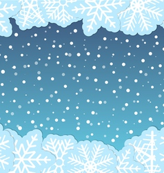 Christmas background with paper flakes vector image vector image