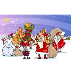 christmas santa claus cartoon group vector image vector image