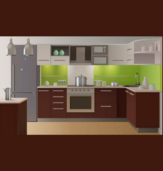 Colored kitchen interior vector