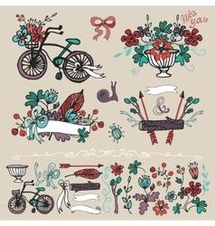 Doodle floral grouphand sketch element set vector