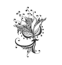 Fantasy flower black and white tattoo pattern vector
