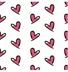 Hearts seamless pattern cute doodle hearts vector