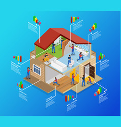 Isometric home repair infographic template vector