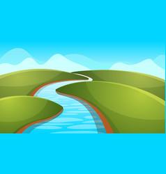 landscape cartoon river sun hill vector image vector image