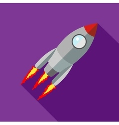 Rocket with flame icon flat style vector image vector image