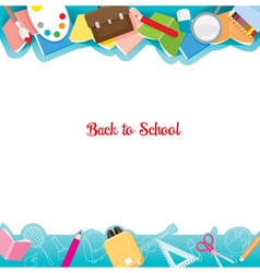 School Supplies Icons On Frame vector image