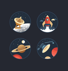 Set of space icons vector