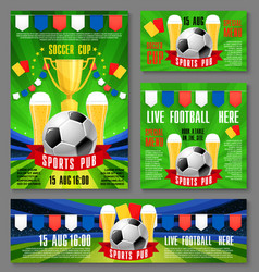 Sport pub invitation ticket for football event vector