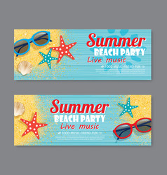 Summer beach party invitation ticket template vector