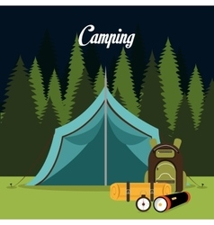 tent camping over landscape background isolated vector image