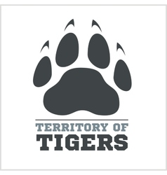 Tiger footprint and fire on light background vector image