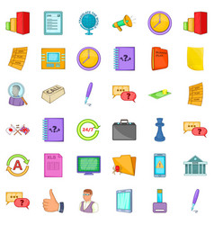 time for business icons set cartoon style vector image vector image