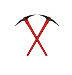 Two crossed mattocks with red handle vector