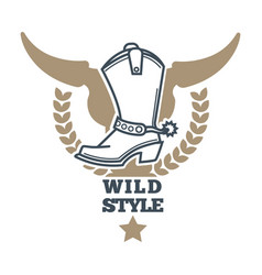 Wild cowboy style colorful logo icon on white vector
