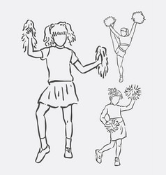 Cheerleader action sketches vector