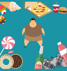 Obese overweight man kids eating sugar candy donut vector