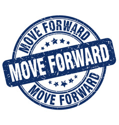 Move forward blue grunge stamp vector