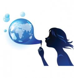 globe bubble vector image