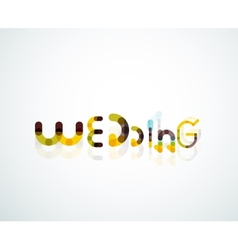 Wedding word font concept design vector image